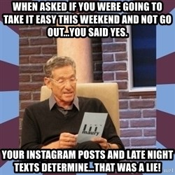 maury povich lol - When asked if you were going to take it easy this weekend and not go out...you said yes. Your Instagram posts and late night texts determine...that was a lie!