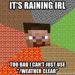 """Minecraft Guy - It's raining IRL Too bad I can't just use """"/weather clear"""""""