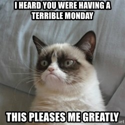 Grumpy Cat ={ - I heard you were having a terrible monday this pleases me greatly