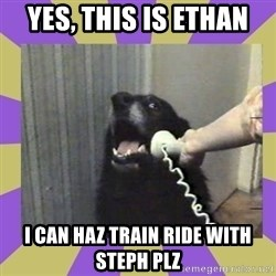 Yes, this is dog! - Yes, this is ethan I can haz train ride with steph plz