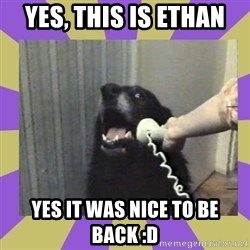 Yes, this is dog! - Yes, this is ethan Yes it was nice to be back :D