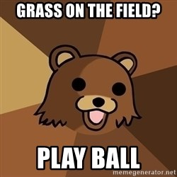 Pedobear - grass on the field? play ball