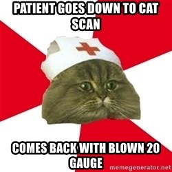 Nursing Student Cat - Patient goes down to Cat Scan Comes back with blown 20 gauge