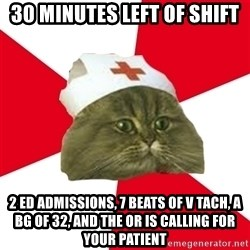 Nursing Student Cat - 30 minutes left of shift 2 ED admissions, 7 beats of V Tach, a BG of 32, and the OR is calling for your Patient