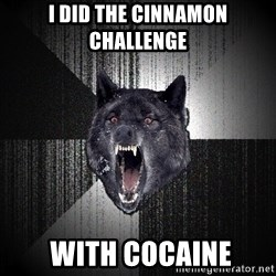 Insanity Wolf - i did the cinnamon challenge  with cocaine