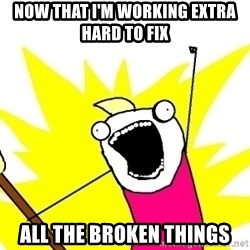 X ALL THE THINGS - now that i'm working extra hard to fix ALL the broken things