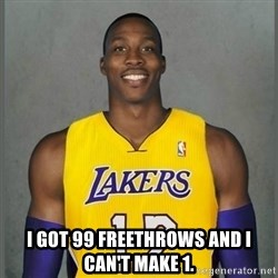 Dwight Howard Lakers -  I got 99 freethrows and i can't make 1.