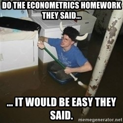 it'll be fun they say - Do the econometrics homework they said... ... it would be easy they said.
