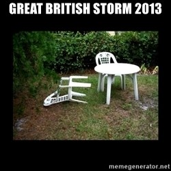 Lawn Chair Blown Over - Great British storm 2013