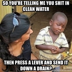 skeptical black kid - so you're telling me you shit in clean water then press a lever and send it down a drain?