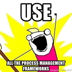 X ALL THE THINGS - use ALL THE PROCESS MANAGEMENT FRAMEWORKS