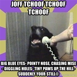 Yes, this is dog! - JOFF TCHOOF TCHOOF  TCHOOF   BIG BLUE EYES- POINTY NOSE, CHASING MISE- DIGGLING HOLES- TINY PAWS UP THE HILL- SUDDENLY YOUR STILL@