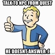 Fallout Meme Boy - Talk To Npc From Quest He Doesnt Answer :(