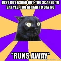Anxiety Cat - just got asked out, too scared to say yes, too afraid to say no *runs away*