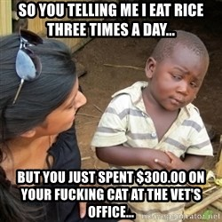 Skeptical 3rd World Kid - So you telling me I eat rice three times a day... But you just spent $300.00 on your fucking cat at the vet's office...