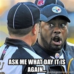 Mike Tomlin Oh SHIT -  ASK ME WHAT DAY IT IS AGAIN...