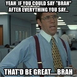 """If everyone could stop posting Bitstrips that would be great - Yeah  if you could say """"Brah"""" after everything you say... That'd be great.....Brah"""