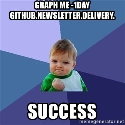 Success Kid - graph me -1day github.newsletter.delivery. success