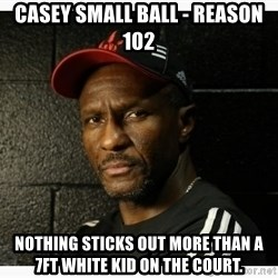 Dwane Casey's Guide to Smallball - Casey Small Ball - Reason 102 Nothing sticks out more than a 7ft white kid on the court.