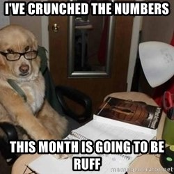 Financial advisor dog - I've crunched the numbers this month is going to be ruff