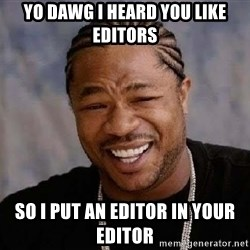Yo Dawg - yo dawg I heard you like editors so I put an editor in your editor