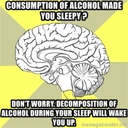 Traitor Brain - consumption of alcohol made you sleepy ? don't worry. Decomposition of alcohol during your sleep will wake you up.