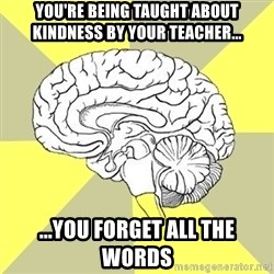 Traitor Brain - You're being taught about kindness by your teacher... ...You forget all the words