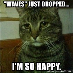 """Depressed cat 2 - """"Waves"""" just dropped... I'm so happy."""
