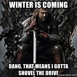Eddard Stark - Winter is Coming Dang, that means I gotta shovel the drive