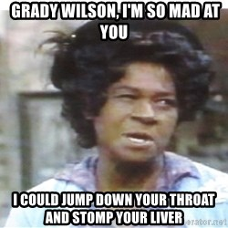 Aunt Esther again -  Grady wilson, I'm so mad at you I could jump down your throat and stomp your liver