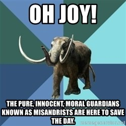 Misogyny Mastodon - Oh joy! The pure, innocent, moral guardians known as misandrists are here to save the day.