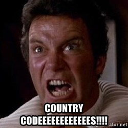 Khan -  COUNTRY CODEEEEEEEEEEEES!!!!