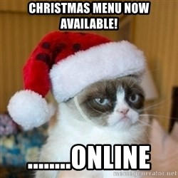 Grumpy Cat Santa Hat - Christmas menu now available! ........online
