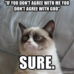 """good grumpy cat 2 - """"IF YOU DON'T AGREE WITH ME YOU DON'T AGREE WITH GOD"""" SURE."""