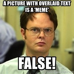 False Dwight - a picture with overlaid text is a 'meme' FALSE!