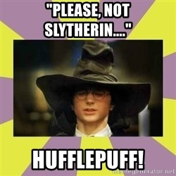 "Harry Potter Sorting Hat - ""please, not slytherin...."" hufflepuff!"