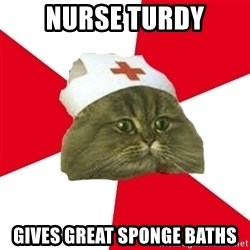Nursing Student Cat - Nurse TURDY Gives GReat SPONGE BATHS