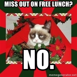 GRUMPY CAT ON CHRISTMAS - Miss out on free lunch? no.