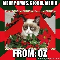 GRUMPY CAT ON CHRISTMAS - Merry Xmas, Global media from: Oz