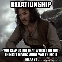 Inigo Montoya Princess Bride - Relationship You keep using that word. I do not think it means what you think it means!