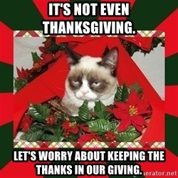 GRUMPY CAT ON CHRISTMAS - It's not even Thanksgiving. Let's worry about keeping the thanks in our giving.