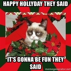 GRUMPY CAT ON CHRISTMAS - HAPPY HOLLYDAY THEY SAID iT'S GONNA BE FUN THEY SAID