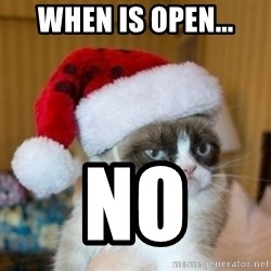 Grumpy Cat Santa Hat - when is open... no