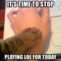 It's time to stop cat - it's time to stop playing lol for today
