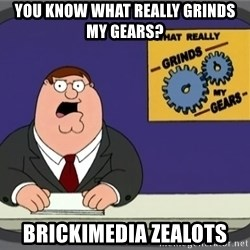 What really grinds my gears - YOU KNOW WHAT REALLY GRINDS MY GEARS? BRICKIMEDIA ZEALOTS