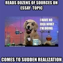 I don't know what i'm doing! dog - Reads dozens of sources on essay  topic Comes to sudden realization