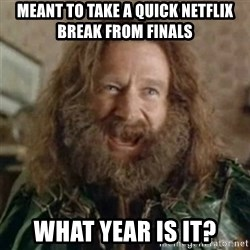 What Year - Meant to take a quick netflix break from finals WHat year is it?