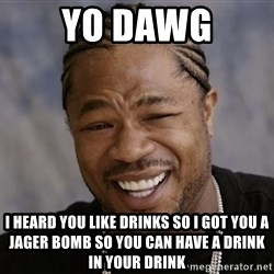 Yo Dawg I Heard You Like - yo dawg i heard you like drinks so i got you a jager bomb so you can have a drink in your drink