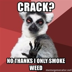 Chill Out Lemur - CRACK? NO THANKS I ONLY SMOKE WEED