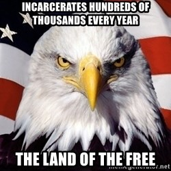 American Pride Eagle - INCARCERATES HUNDREDS OF THOUSANDS EVERY YEAR THE LAND OF THE FREE